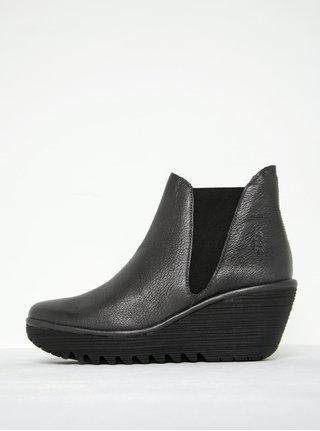 Tmavosivé dámske kožené členkové topánky na platforme FLY London