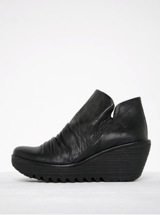Čierne dámske kožené členkové topánky na platforme FLY London