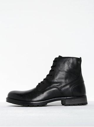 Čierne kožené členkové topánky so zipsom Jack & Jones Worca