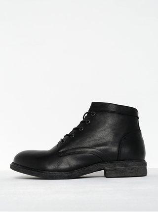 Černé pánské kožené kotníkové boty se zipem Selected Homme Trevor