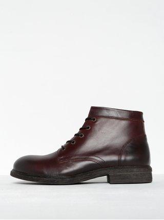Tmavě hnědé pánské kožené kotníkové boty se zipem Selected Homme Trevor