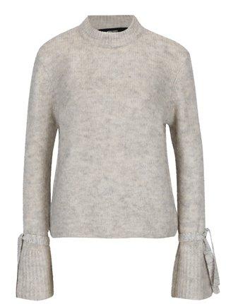 Krémový melírovaný sveter so zvonovými rukávmi VERO MODA Elina