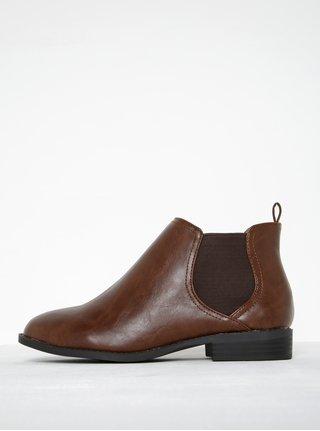 Hnedé členkové topánky s ozdobným zipsom Refresh  2bc822c4962