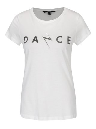 Tricou crem din bumbac cu print text -  VERO MODA Dance Studio