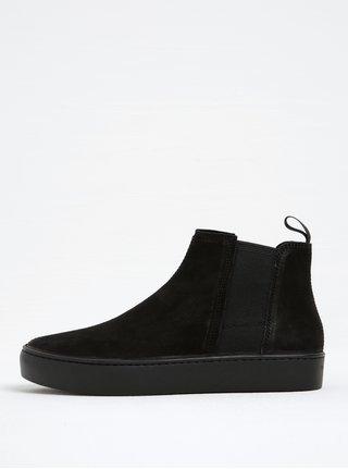 Černé dámské kožené chelsea boty na platformě Vagabond Zoe
