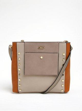 Hnedo-béžová crossbody kabelka s aplikáciou v zlatej farbe Gionni Maddy