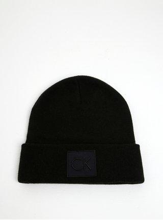 Čierna pánska čiapka s prímesou vlny z alpaky Calvin Klein Jeans