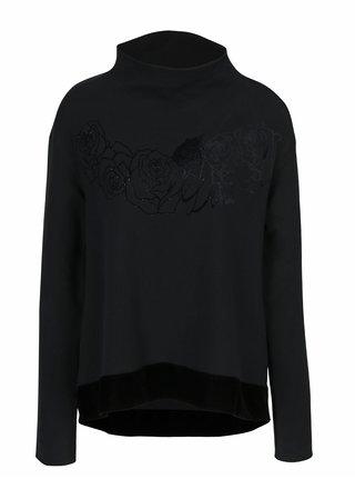 Černá mikina s motivem růží DEHA