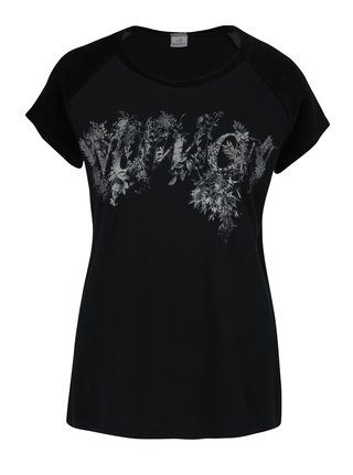 Tricou negru&gri cu print floral  DEHA