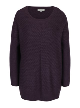 Pulover lung mov cu amestec de lana Selected Femme Rille