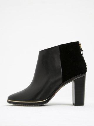 Černé kožené kotníkové boty na podpatku Ted Baker Azaila