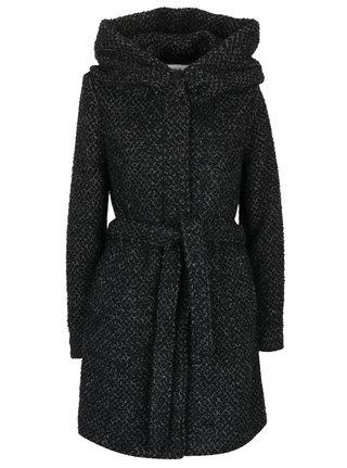 Čierno-sivý vzorovaný kabát s prímesou vlny a s kapucňou VILA Cama