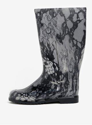 Cizme de ploaie cu print dantelat negru & gri - Oldcom Rain