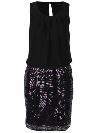 Fialovo–čierne šaty s flitrovanou sukňou VERO MODA Silje