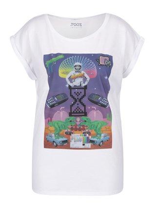Biele dámske tričko s potlačou ZOOT Original Koláž