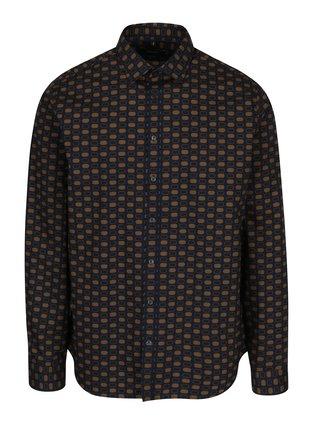 Hnedo-modrá vzorovaná tailored fit košeľa Seidensticker