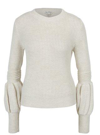 Krémový sveter s naberanými rukávmi Miss Selfridge