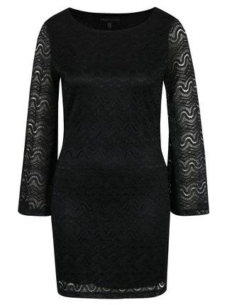 Čierne puzdrové čipkové šaty so zvonovými rukávmi Mela London