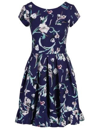 Rochie albastru inchis cu imprimeu floral, pliuri si volan Closet
