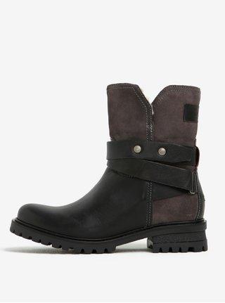 Čierne dámske kožené členkové topánky s umelým kožúškom Tommy Hilfiger Corey