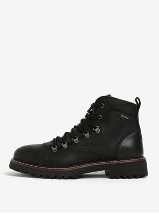 Čierne pánske členkové kožené vodovzdorné topánky Geox Kieven