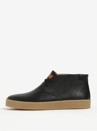 Čierne pánske kožené členkové topánky Tommy Hilfiger Logan