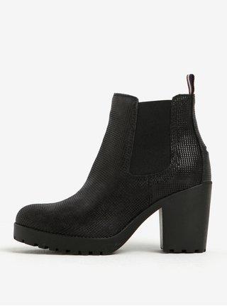 Čierne dámske kožené chelsea topánky na vysokom podpätku Tommy Hilfiger Boo