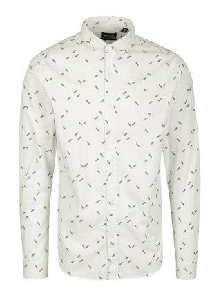 Bílá vzorovaná slim fit košile ONLY & SONS Titan