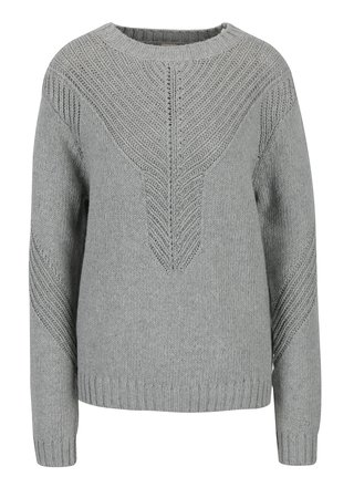 Sivý dámsky sveter so vzorom a prímesou vlny Roxy Take Over