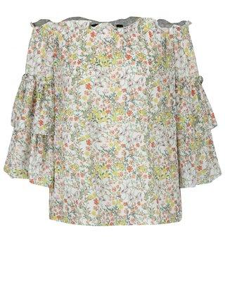 Krémová kvetovaná blúzka s odhalenými ramenami Dorothy Perkins