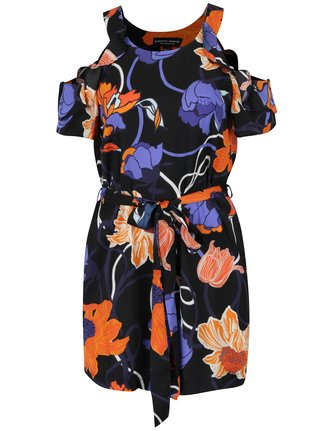 Bluza lunga neagra cu model floral si  umeri expusi Dorothy Perkins