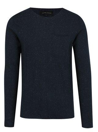 Tmavomodrý pánsky tenký sveter s jemným vzorom Casual Friday by Blend