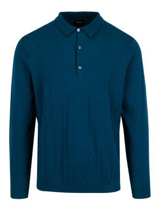 Pulover albastru cu guler si model discret pentru barbati - Burton Menswear London