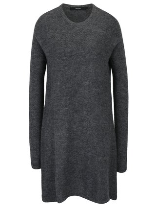 Tmavosivé svetrové šaty s prímesou vlny VERO MODA Ginger