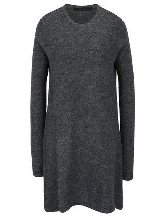 Rochie pulover gri inchis melanj din amestec de lana alpaca VERO MODA Ginger