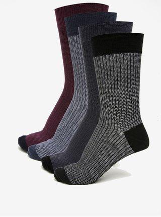 Sada čtyř párů vzorovaných ponožek ve vínové a modré barvě Burton Menswear London