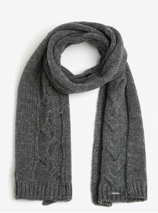 Sivý dámsky vlnený šál so vzorom Calvin Klein Elza