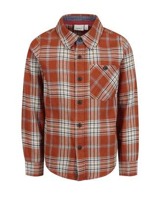 Oranžová klučičí vzorovaná košile Name it Kohno