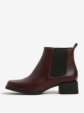 Tmavohnedé dámske kožené chelsea topánky Camper