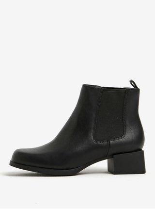 Čierne dámske kožené chelsea topánky Camper