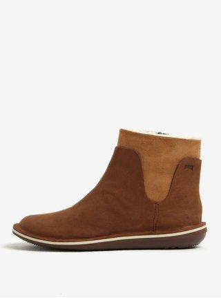 Hnedé dámske kožené členkové topánky Camper