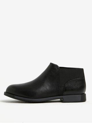 Čierne dámske kožené nízke chelsea topánky Camper