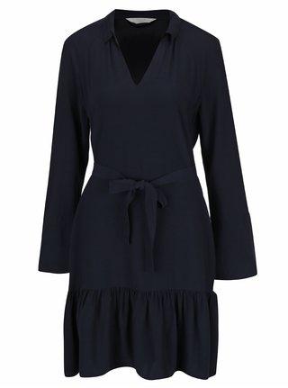 Tmavomodré šaty s véčkovým výstrihom a dlhým rukávom YAYA