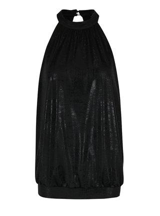 Top negru cu aspect lucios si decupaj la spate ONLY Kailee