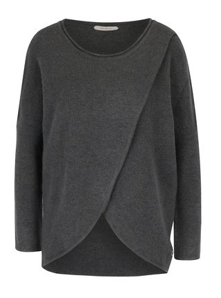 Tmavě šedý vlněný svetr s překládaným předním dílem SKFK