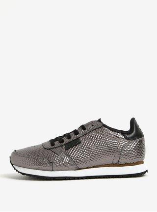 Pantofi sport argintii din piele pentru femei - Woden Ydun Metallic
