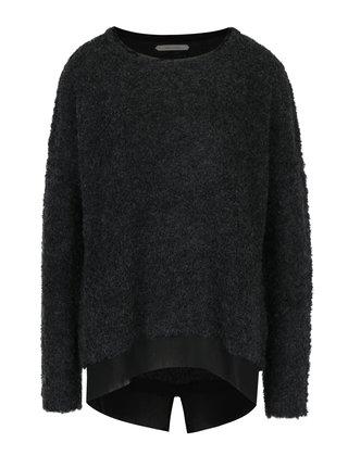 Pulover gri inchis cu amestec de lana alpaca SKFK