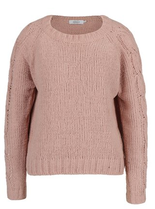 Pulover tricotat cu torsade pe maneci roz prafuit - ONLY Ivy
