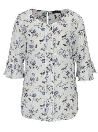 Bílá průsvitná květovaná halenka s volány na rukávech M&Co