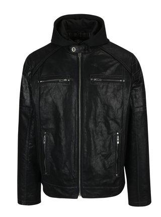 Černá pánská kožená bunda s kapucí KARA Dorian